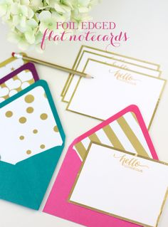 Foil Edge Flat Notecards