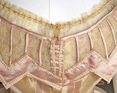 detail of front closing ballgown bodice. Dress came w/ a square necked day bodice w/ open sleeves as well. Thread buttons museums, beautiful detail, dress detail, museum dress, dresses, 1860s fashion, trim detail, breathtak fashion, 1865