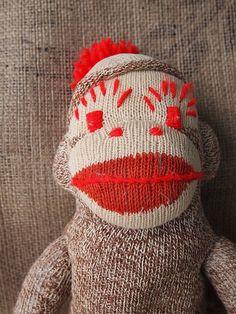 Vintage Sock Monkey with Red Yarn Eye Brows by warnANDweathered, $24.00