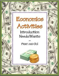 Needs & Wants Economics Activities~ Four (4) ready-to-use worksheets with teaching suggestions and full-sized answer keys -AND- a reading selection and word search that introduces basic economics concepts. Just print and go! This lesson is part of a companion product. Check it out @ http://www.teacherspayteachers.com/Product/Economics-Activity-COMBO-Pack-8-NO-PREP-Printables #economic #lesson
