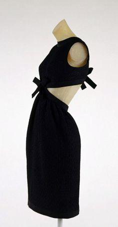 Yves Saint Laurent Coctail Dress - c. 1967 - Black wool bouclé with black silk grosgrain trim -