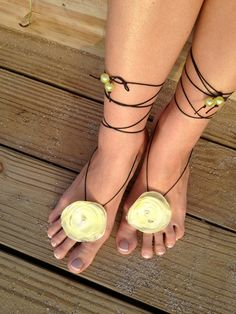 Barefoot sandals, handmade beach wedding sandles, foot jewelry with yellow fabric flowers and beads