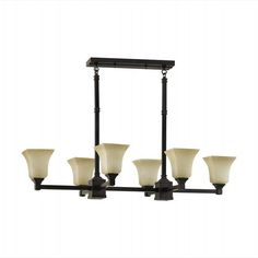"""American Foursquare Oil Rubbed Bronze Kitchen Island Light •Oil Rubbed Bronze Finish  •Excavation Glass  Specifications:•8.25 to 51"""" high (adjustable), 40"""" wide, 23"""" deep"""