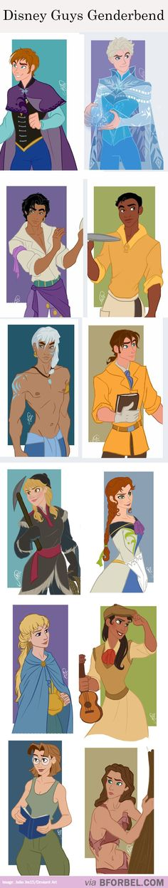 12 Disney Gender Benders… 12 disney, disney gender bender, gender swapped disney