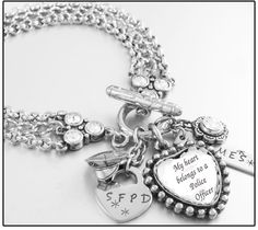 Police Jewelry Police Officer Bracelet Wife by BlackberryDesigns, $68.00