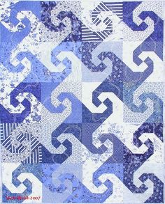 blue snail, quilt patterns, quilt inspir, block pattern, quilt blocks, quilts to make with charm pack, blue quilts, snail trail quilt, pretti blue
