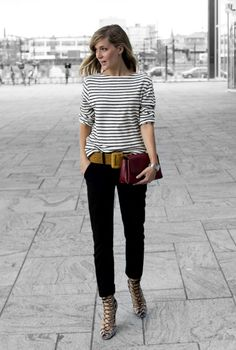 Slouchy striped T-shirt, skinny black trousers and mustard belt. WIN