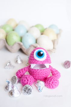 Hide the candy in this cute monster egg cozy for Easter!  Tutorial and pattern by One Dog Woof.