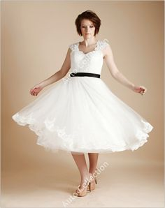 Vintage Inspired Tea Length Lace Tulle Keyhole Wedding Dress with Black Bow Sash/Cap Sleeves/Short Wedding Dress via Etsy - 139.00