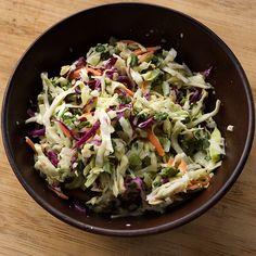 [SPICED UP MEXICAN COLESLAW] :: buttermilt, mayo, cider vinegar, lemon or lime juice, sugar, salt, black pepper, shredded green and red cabbage, carrots, cilantro, green onions, jalepeno & salt.