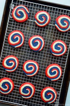 Red, White and Blue Pinwheel Icebox Cookies #recipe