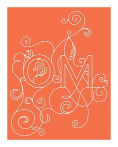OM Yoga Art Print - 8 x 10 in Coral