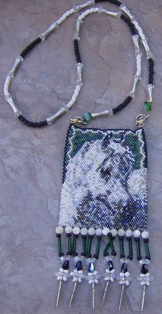Spirit Horse Design Amulet Bag Hand Made Seed Beaded by wolflady