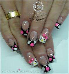 polka dots, gel nail art, nail art designs, nail arts, black nails, gel nails, gel nail designs, polka dot nails, hello kitty nails