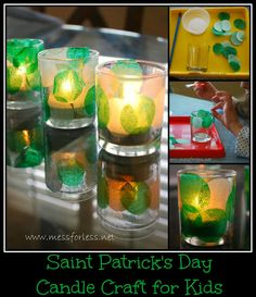 Saint Patrick's Day Craft for Kids - Make a Votive. Use green tissue paper to decorate a glass candle hold for St. Patrick's Day. #kids #saint-patricks-day