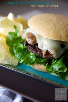 Sautéed Mushroom & Swiss Burger with Caramelized Onions | Tried and Tasty
