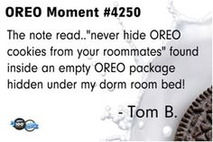 Someone learned his lesson for not sharing, though we probably would have done the same thing. #oreomoment