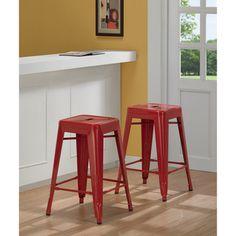 Tabouret 24-inch Red Metal Counter Stools (Set of 2) | Overstock.com