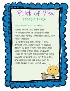Point of View Freebie Pack (First Person, Third Person Limited, Omniscient) Teaching point of view. #point of view #point-of-view #character point of view #character-point-of-view #teaching point of view #teaching-point-of-view