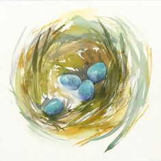 Watercolor by Jake Marshall. Bird's nest number 2.