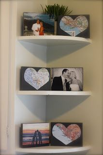 For the wedding, you can do a map from each of your hometowns, and one of where you met. And if you wanted, add maps of places that are special to you too. Honeymoon, Frames, Engagements, Map, Master Bedrooms, Special Events, Families, Corner Shelves, Romantic Ideas