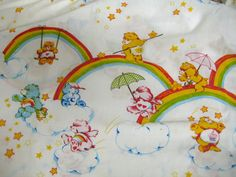 Care Bears  1983   Vintage Bed Sheet Fat Quarter by TawnyBee, $2.50
