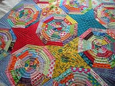 Great quilting on a spiderweb quilt