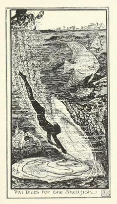 The brown fairy book (c1904)  illustrations by Henry Justice Ford    Pivi dives for the shellfish
