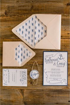 Adorable peach and navy nautical stationery by Kim Roach Design. #wchappyhour #weddingchicks http://www.weddingchicks.com/2014/08/29/kim-roach-design/