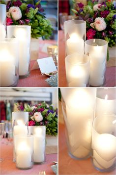 True Event- Style Me Pretty, DIY, Chevron candles, and  Frosted glass (www.trueevent.com)