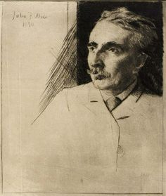 """Portrait of John F. Weir"", 1890, J. Alden Weir, drypoint on paper, plate: 7 7/8 x 6 in. (19.9 x 15.3 cm), Smithsonian American Art Museum, Gift of Brigham Young University, 1972.84.59"