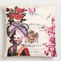 One of my favorite discoveries at WorldMarket.com: Queen Print with Script Throw Pillow