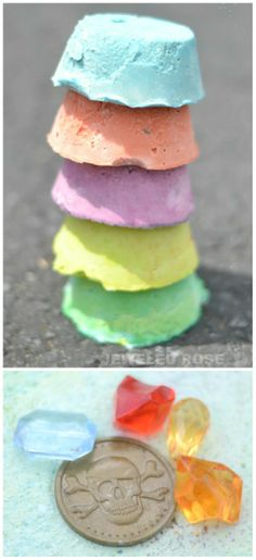Easy to make sidewalk chalk with treasures hidden inside. As kids draw and create art the chalk gets smaller, and the treasures are discovered; such a fun surprise!