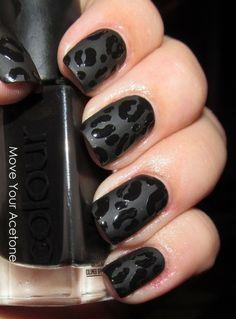 matte nails, cheetah print, cheetah nails, leopard nails, black nails, matte black, animal prints, leopard prints, nail art