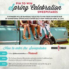 Spring Celebration Sweepstakes!  Pin to WIN your favorite Minnetonka style of the season! Enter now: http://www.minnetonkamoccasin.com/PinItToWinItSpringCelebration
