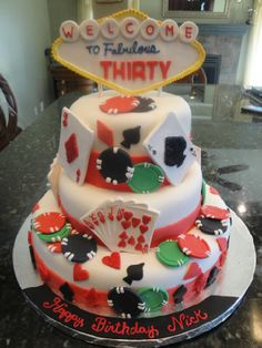 Casino cake for thirtieth birthday party all edible cards, chips and vegas sign