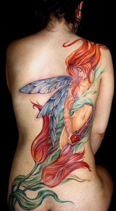 girl tattoos, tattoo idea, watercolor tattoos, back tattoos, fairi, feminine tattoos, a tattoo, the artist, tattoo ink