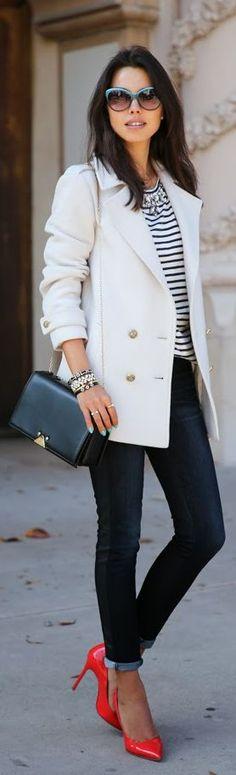 Travel Style   Blazer, Stripe Top + Red Heels.