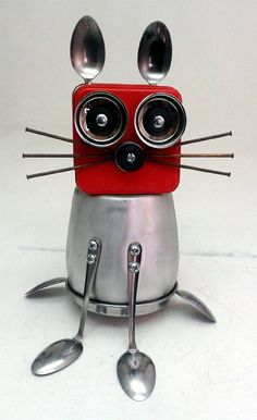 RESERVED FOR LISA  Cool Cat 3 Assemblage Steampunk by DonLJones robot cat