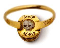 Underside of mourning ring for Charles I with enamel skull.