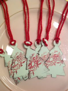 Tree Shaped Christmas Tags Set of six by SimpleSouthernSass, $6.95