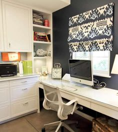 Love the desk and shelving area