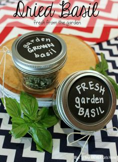 Preserve some fresh basil from your garden by drying it and storing in a cute mason jar!  Makes a fantastic gift via Wait 'Til Your Father Gets Home