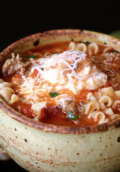 This Lasagna Soup is a great combination. Fall is a great time to make a nice hot bowl of soup.#soup #fall