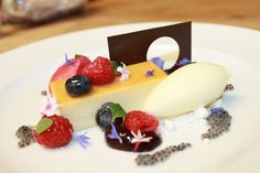 Flan de Leche, Basil Ice Cream, Berries, Blueberry Coulis, Raspberry Foam, Basil Seed, White Chocolatre Powder by Pastry Chef Antonio Bachour, via Flickr
