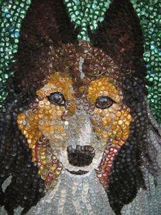 Bottlecap dog portrait
