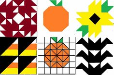 Almost Unschoolers: Fall Themed Half-Square Quilt Puzzle Blocks