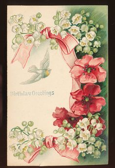 vintage postcard Greeting Floral Lily of the Valley Flowers Bird embossed-ccc491