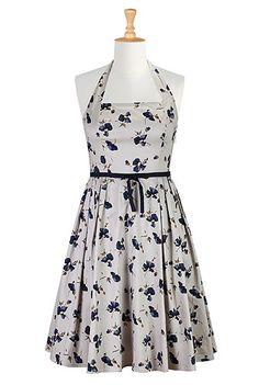 I <3 this Ribbon tied floral halter dress from eShakti