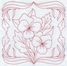 Pansies (Redwork)